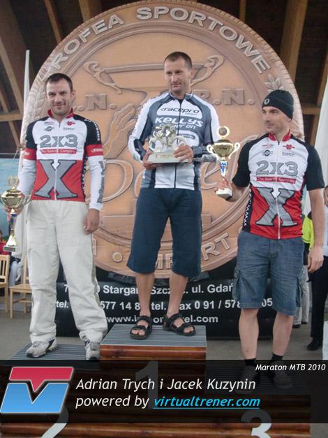 Adrian Trych i Jacek Kuzynin V Maraton MTB dookoła jeziora Miedwie 7 sierpnia 2010 by virtualtrener.com
